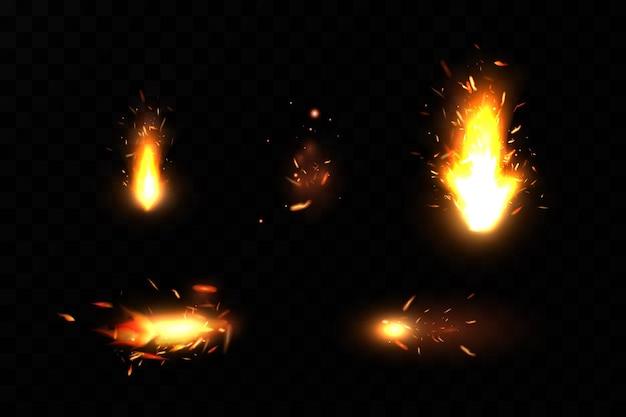 Płonące ogniste iskry. iskry ognia.