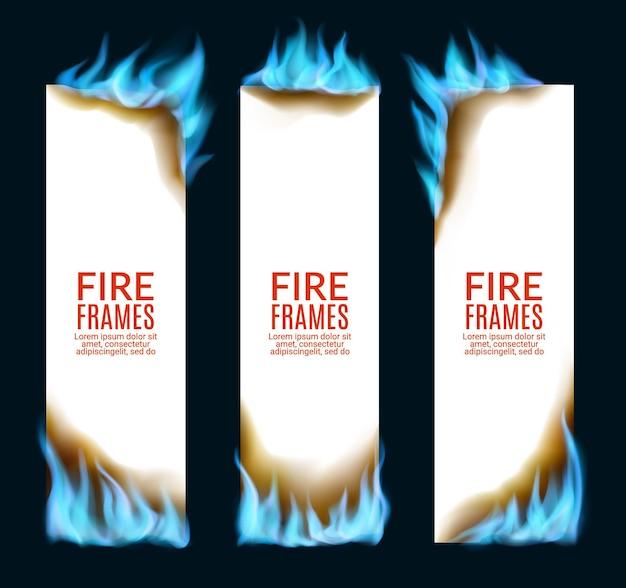 Płonące papierowe banery z płomieniami gazu ziemnego