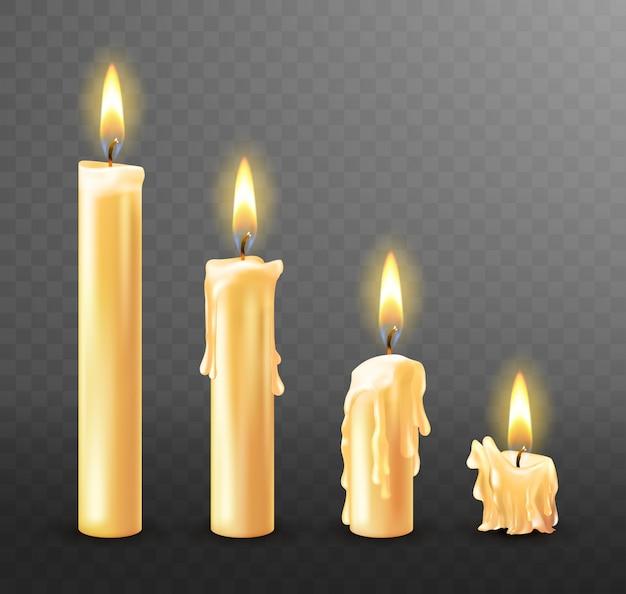 Płonące świece ociekające woskiem