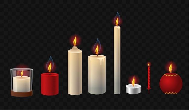 Płonące świece - realistyczne wektor na białym tle clipart zestaw obiektów na przezroczystym tle. białe, czerwone, krótkie, wysokie, odświętne, proste światła o różnych kształtach i formach, z kieliszkiem