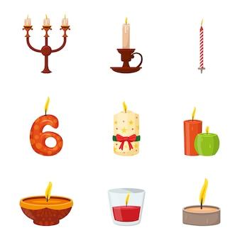 Płonące świece różne kształty i zestaw projektów
