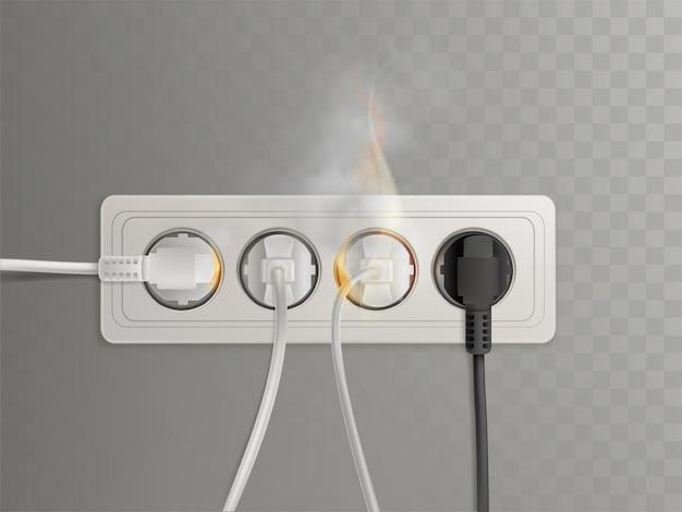 Płonące wtyczki zasilania w poziomym gniazdku elektrycznym