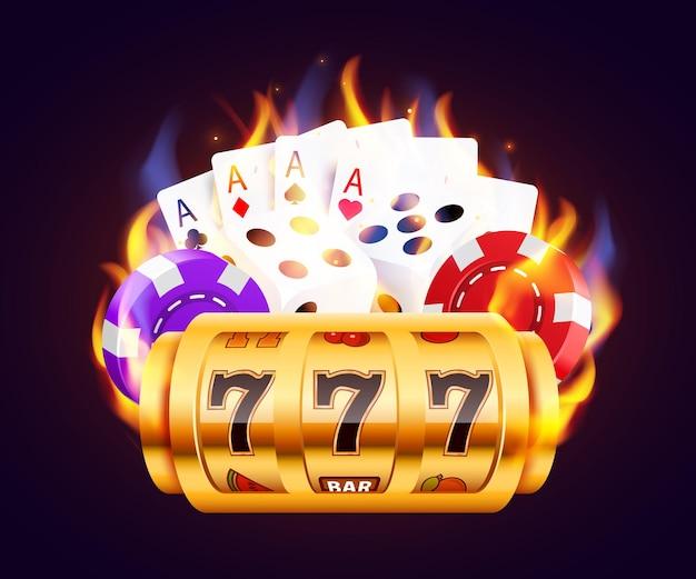 Płonący automat do gry, kości, karty do pokera wygrywają jackpota. ogień kasyno hot 777.