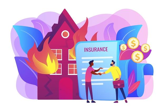 Płonący dom, płonący budynek. agent ubezpieczeniowy i płaskie znaki klienta. ubezpieczenie od ognia, straty ekonomiczne od ognia, chroń swoją koncepcję własności.