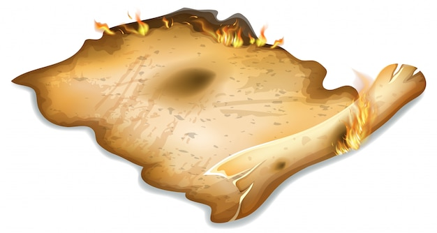 Płonący kreskówka stary papier.