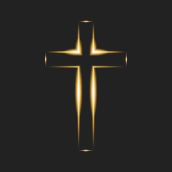 Płonący krzyż na czarnym tle. chrześcijański symbol. świecące logo kościoła, organizacji chrześcijańskich. ilustracja wektorowa. eps10.