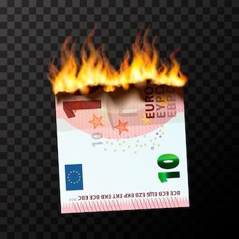 Płonący manekin o nominale połowy dziesięciu banknotów euro rozdarty na dwie części płomieniami ognia