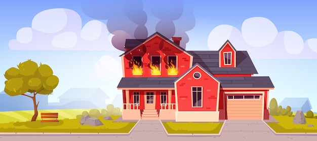 Płonący ogień w domu