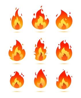 Płonący ogień zestaw ikon logo, płaski wektor styl projektowania