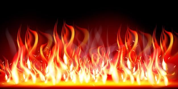 Płonący Płomień Ognia. Palić I Gorąco, Ciepło I Ciepło, Energia łatwopalna, Płonąca Ilustracja Wektorowa Premium Wektorów