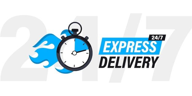 Płonący stoper z napisem ekspresowa dostawa. naklejka, szybka dostawa. czasowa i ekspresowa dostawa. pilne usługi wysyłkowe. dostawa online, szybki ruch. szybka dystrybucja 24/7