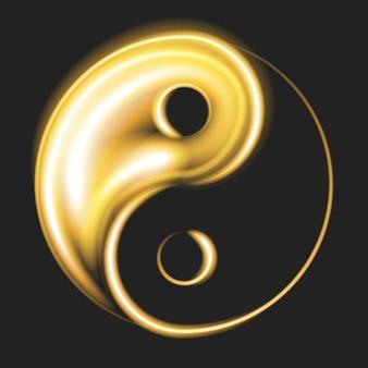 Płonący symbol yin i yang na czarnym tle. znak filozofii chińskiej. dwie połówki jednej całości. ilustracja wektorowa. eps10.