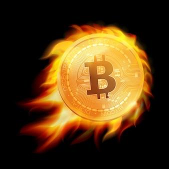 Płonący symbol złotej monety bitcoin. płonący emblemat bitcoin. .