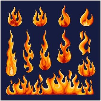 Płonący szablon ognia wektor kolekcja