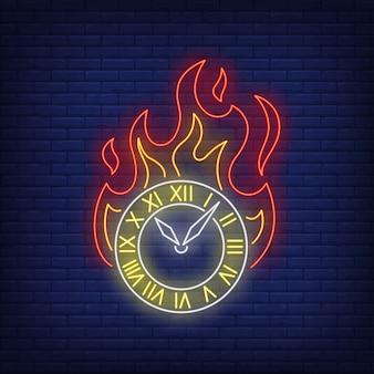 Płonący zegar neon znak