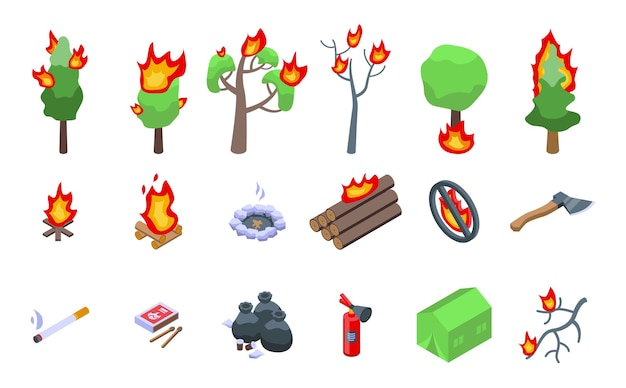Płonący zestaw ikon lasu. izometryczny zestaw ikon wektorowych płonącego lasu do projektowania stron internetowych na białym tle
