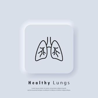 Płuca. ikona zapalenia płuc. stan zapalny w płucach. astma lub gruźlica. wektor. ikona interfejsu użytkownika. biały przycisk sieciowy interfejsu użytkownika neumorphic ui ux. neumorfizm