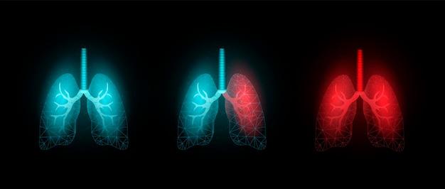 Płuca. szablon transparentu ze świecącym low poly. na białym tle na ciemnym tle.