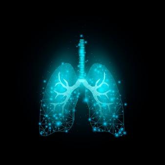 Płuca. szablon transparentu ze świecącym low poly.