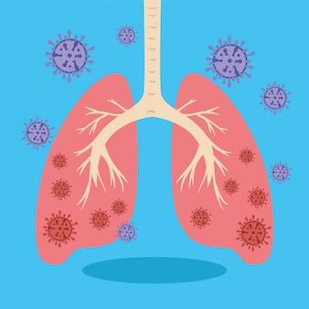 Płuca z ilustracją koronawirusa 2019 ncov