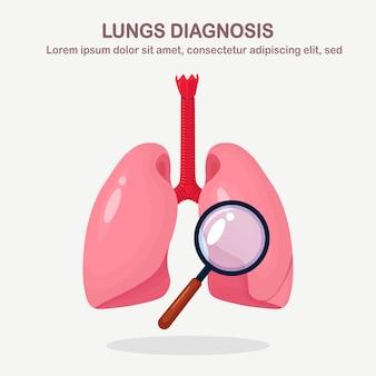 Płuca z lupą. diagnoza, badanie narządów. fluorografia, badanie rentgenowskie
