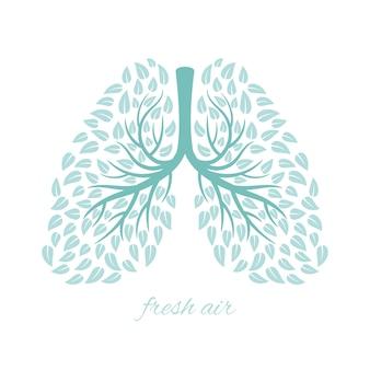 Płuca z ulistnieniem. zdrowe ekologiczne płuca z liśćmi ilustracja koncepcja przeciw gruźlicy