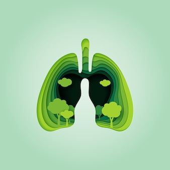 Płuco i serce natury koncepcja stylu papieru sztuki.