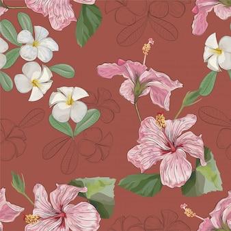 Plumeria kwitnie bezszwową deseniową ilustrację