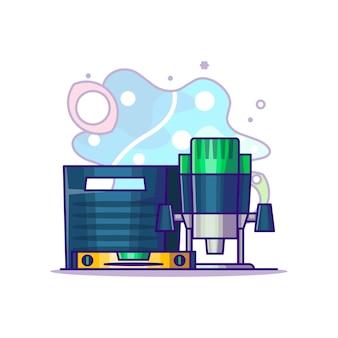 Plunge router, toolbox i waterpass cartoon illustration. dzień pracy koncepcja biały na białym tle. płaski styl kreskówki