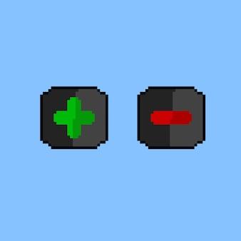 Plus minus przycisk ze stylem pixel art