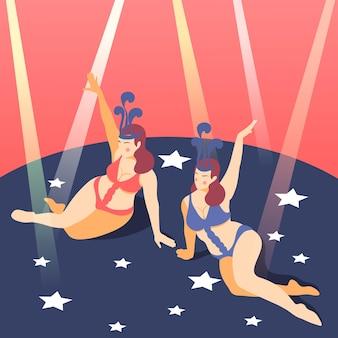 Plus size tancerze nocnego klubu występujący w seksownych strojach bikini pod ilustracją reflektorów