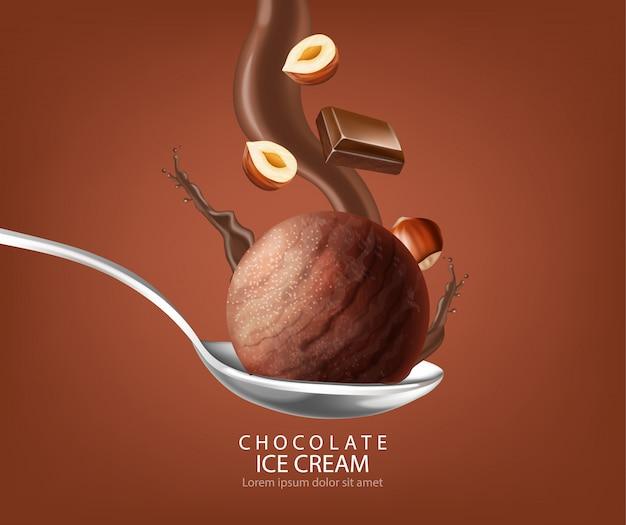 Plusk czekoladowej kulki lodów