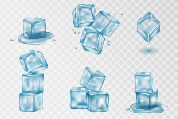 Plusk wody i kostka lodu z przezroczystością. zestaw realistycznych przezroczystych kostek lodu w kolorze niebieskim