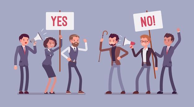 Plusy i minusy. aktywni ludzie na zebraniach, którzy decydują o zaletach i wadach, pomysły za i przeciw, argumenty pozytywne i negatywne, trzymające tak, bez znaków. ilustracja kreskówka styl
