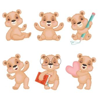 Pluszowe misie, puszyste śliczne zabawki dla dzieci noszą maskotki w różnych pozach akcji