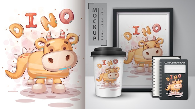 Pluszowy dinozaur - plakat i merchandising