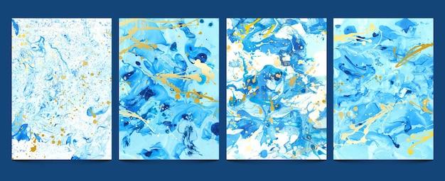 Płyn do akwareli. nowoczesne niebieskie marmurowe tekstury ze złotymi plamami. abstrakcyjny wzór wody, płynna farba, kamienna geoda. atramentowe wydruki ustawiają marmurową abstrakcyjną niebiesko-złotą, akrylową powierzchnię ilustracji