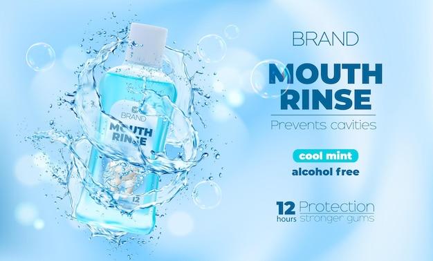 Płyn do płukania myszy lub butelka do płukania jamy ustnej z rozbryzgami wody