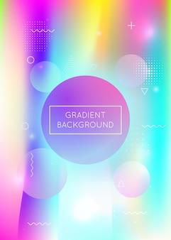 Płyn kształtuje tło z dynamicznym płynem. holograficzny gradient bauhaus z elementami memphis. szablon graficzny na afisz, prezentację, baner, broszurę. retro płynne kształty tła.