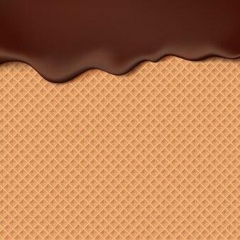 Płynąca czekolada na tekstury wafla abstrakcyjna tła słodkiej żywności. rozpuść czekoladę na wzór wafla.