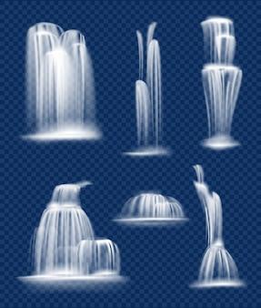 Płynący wodospad. świeża, czysta i przezroczysta kaskada wody spada rozpryskami i upuszcza realistyczną kolekcję natury