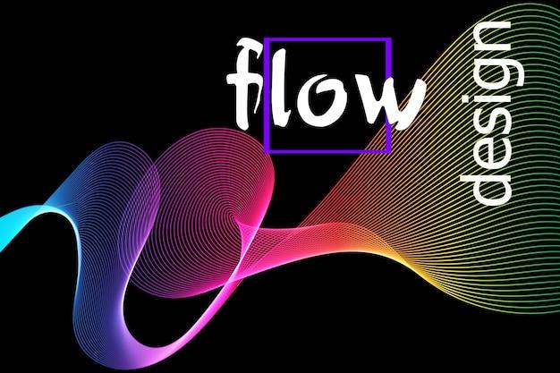 Płynna kolorowa tekstura na ciemnym tle. projektowanie kształtów przepływu. płynna fala tło. streszczenie 3d kształt przepływu. płynny wzór kolorów.