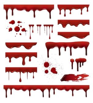 Płynna krew. czerwone sosy krople plamy krople kolekcji szablonów plam krwi. krwawa ciecz, kropelka i plamka, ilustracja rozpryski kroplówki