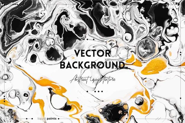 Płynna tekstura sztuki. abstrakcyjne tło z efektem mieszania farby. złote, czarne i białe przepełnione kolory.