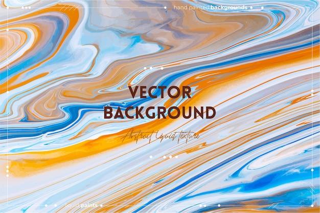Płynna tekstura sztuki. tło z abstrakcyjnym efektem mieszania farby. przepełnione kolory niebieski, pomarańczowy i biały.