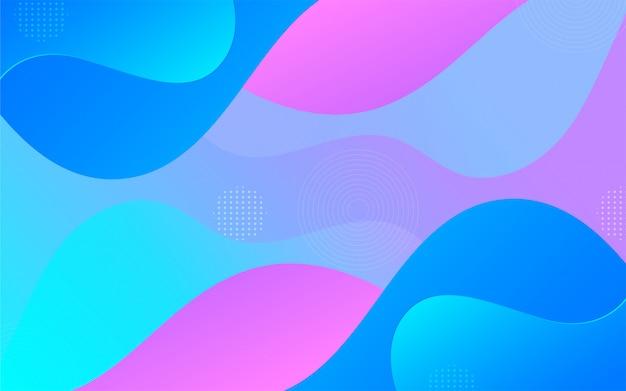 Płynne kształty gradientu na tle elementów memphis