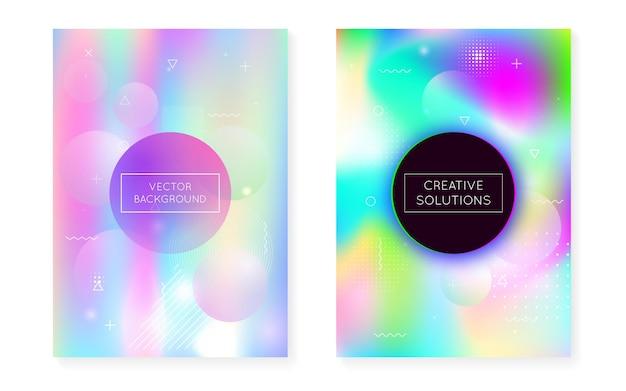 Płynne kształty pokrywają się dynamicznym fluidem. holograficzny gradient bauhaus z tłem memphis. szablon graficzny ulotki, interfejsu użytkownika, magazynu, plakatu, banera i aplikacji. żywe, płynne kształty pokrywają.