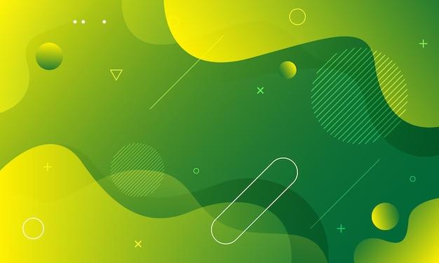 Płynne tło fali z zielonym i żółtym kolorem tła
