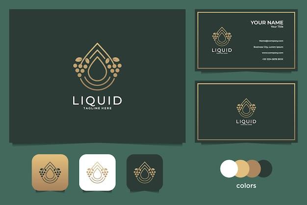 Płynne złote logo i wizytówka. dobre wykorzystanie logo mody i spa