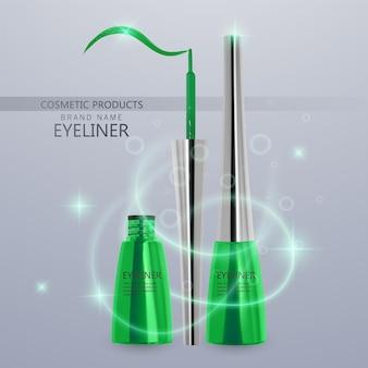 Płynny eyeliner, zestaw jasnozielonego koloru, makieta produktu eyeliner do użytku kosmetycznego w ilustracji 3d, na białym tle na jasnym tle. ilustracja wektorowa eps 10